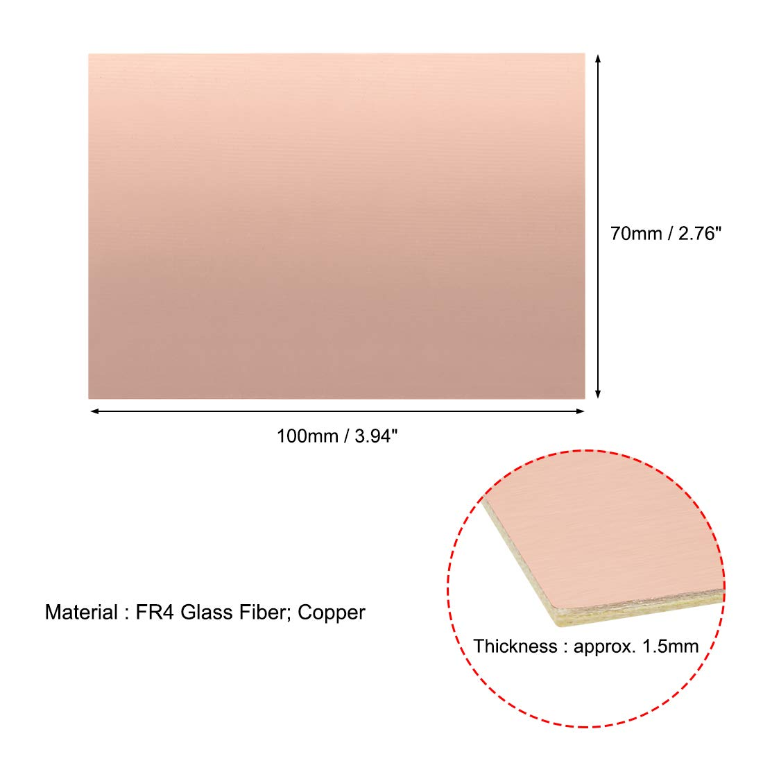Sourcing Map Circuit imprim/é en cuivre lamin/é 5Pcs 100x70mm Double-Sided