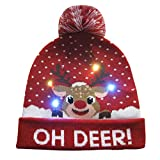 Morrivoe Christmas Hat LED Light-up Knitted Cap Holiday Xmas Beanie Hat Fashion Women Men Hat