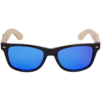 895228ffdd Amazon.com  WOODIES Bamboo Wood Sunglasses with Blue Mirror ...