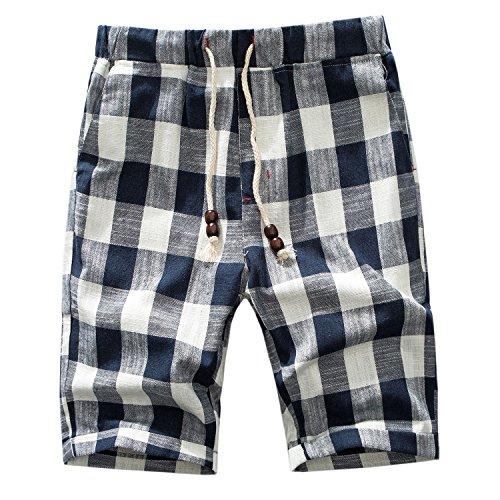 Manwan walk Men's Linen Casual Classic Fit Short B311 (Medium, Plaid Blue)