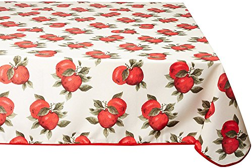 Violet Linen Euro Apples Classic Euro Apples Tablecloth with Large Apples Design, 60
