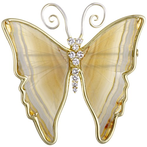 Luxury Bazaar 18K Yellow and White Gold Diamonds and White Onyx Butterfly Brooch