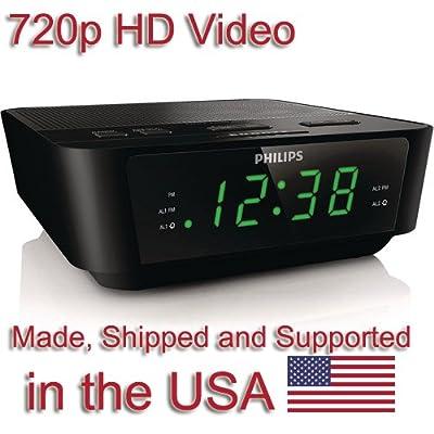 SecureGuard HD 720p Alarm Clock Radio Spy Camera Covert Hidden Nanny Camera Spy Gadget by Aes Spy Cameras