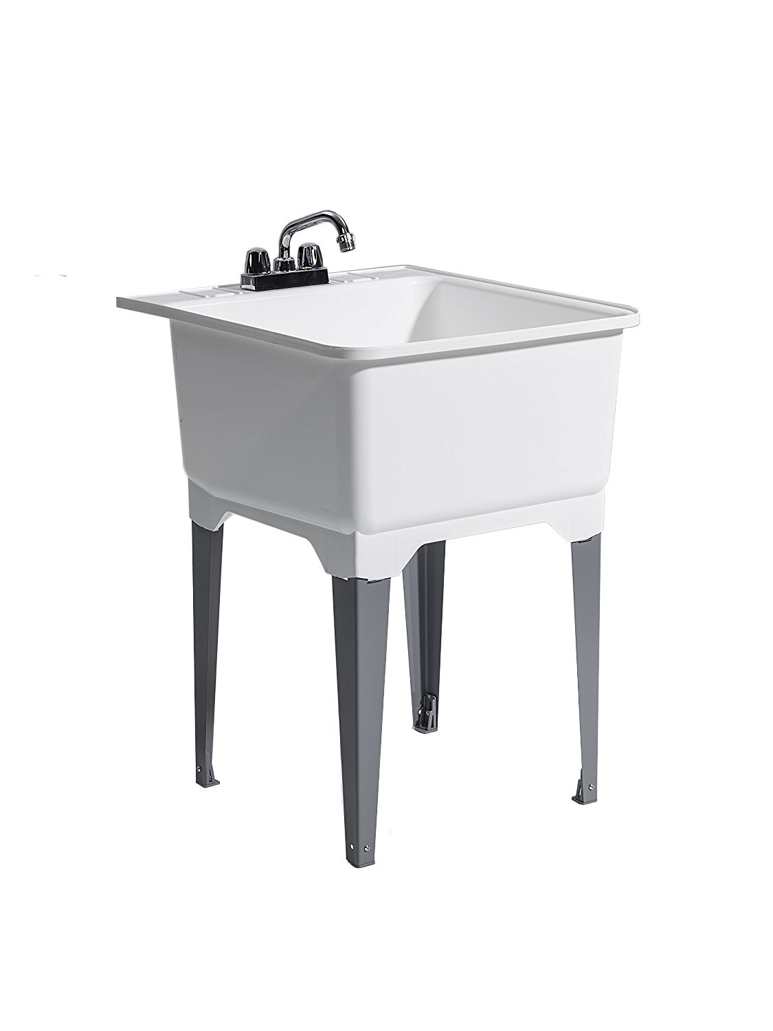 CASHEL 1950-31-11 Standard Utility Sink - Fully Loaded Sink Kit, Steel Leg, White by Cashel
