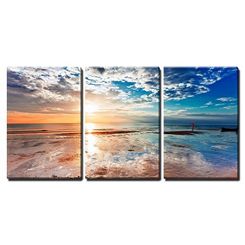 """Wall26 - 3 Piece Canvas Wall Art - Tropical Beach at Beautiful Sunset. Nature Background - Modern Home Decor Stretched and Framed Ready to Hang - 24\""""x36\""""x3 Panels"""
