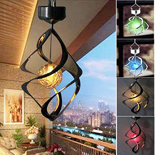 AMWGIMI Hanging Solar Lights Outdoor Wind Chimes Lights LED Colour Changing Hanging Light Waterproof Spiral Spinner Lamp for Design Decoration for Garden, Patio, Balcony Outdoor & Indoor ()
