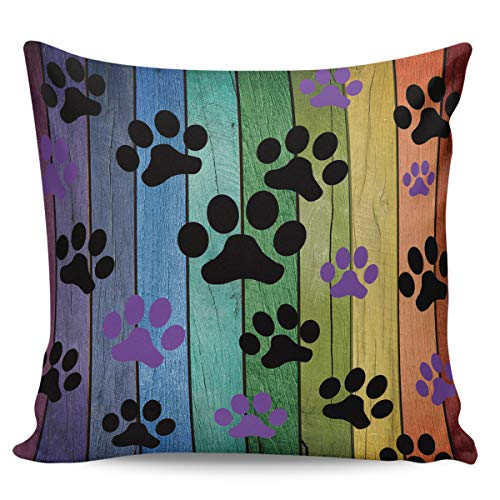 (Meet 1998 Wood Dog Paws Rainbow Throw Pillow Covers Footprints Pattern Square Cushion Covers Pillowcases for Sofa Bedroom Car Chair (Short Plush) - 26 x 26 Inches)