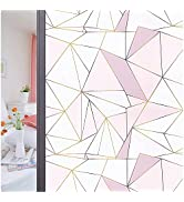 Coavas Privacy Window Film Decorative Non Adhesive Static Modern Geometric Frosted Window Clings ...