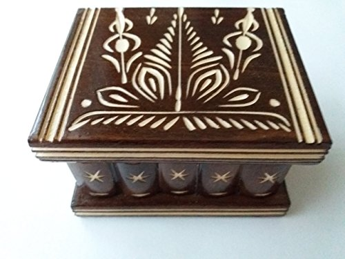 New cute handmade brown wooden secret magic puzzle jewelry ring holder treasure box gift toy for kids