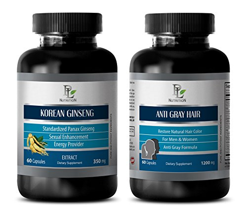 antioxidant essential - KOREAN GINSENG – ANTI GRAY HAIR - COMBO - red maca extract - 2 Bottles (60+60 Capsules) by PL NUTRITION