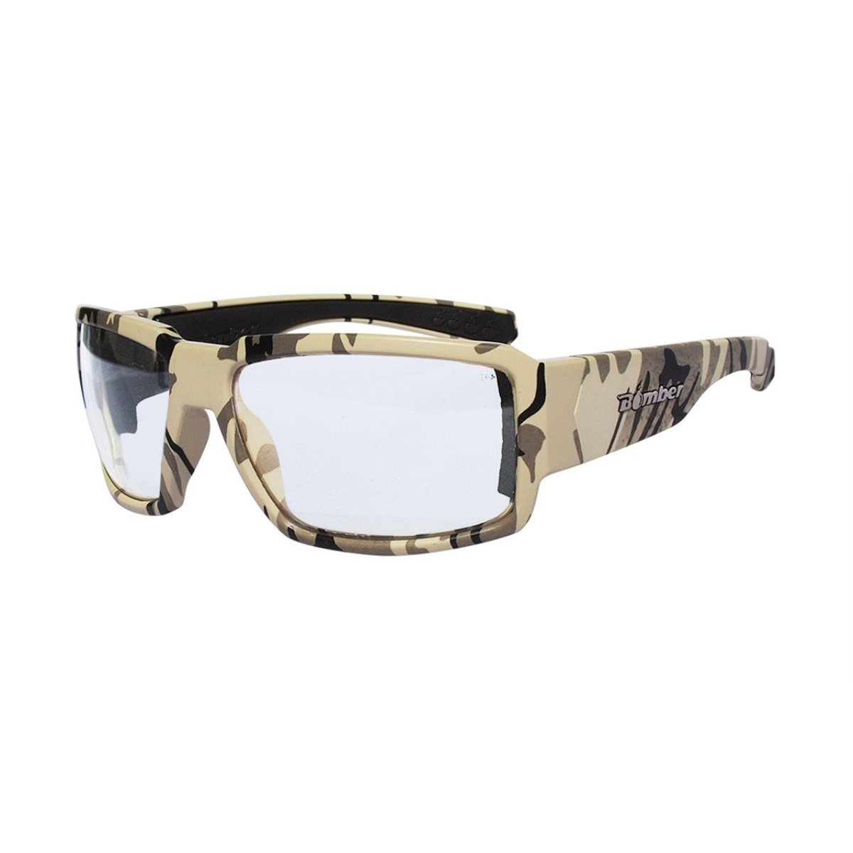 Bomber Sunglasses - Boogie Bomb Sand Camo Frm/Clear ANSI Z87+ safety Lens/Black Foam