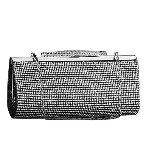 Bridal Crystal Sparkly IBELLA Women Clutch Sequin Handbag Evening Prom Party Black Diamante for Bag Glitter Purse q0qvSXp