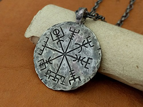 925 Sterling Silver Viking Compass Vegvisir Pendant Hand Hammered Norse Jewelry Necklace ()