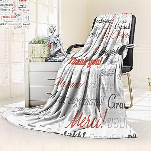 (Nalohomeqq Multinational Global Pattern Custom Collection Thank You in Different Languages of The World Multilingual Design Microfiber Fabric Blanket Orange Grey)