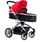 L.A. Baby Red/ Black Red Oak Street Stroller, Adjustable height and reversible handle