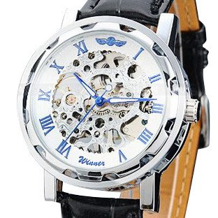 Vantasy Roman Men's Luxury Stainless Steel White Dial Skeleton Analog Hand Wind Mechanical Black Leather Wrist Watch