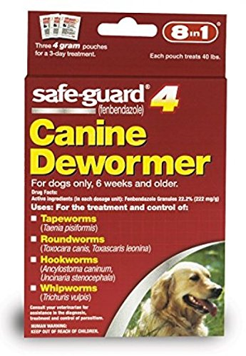 Dog Dewormer Canine 8in1 Safe Guard Safeguard Dogs Large Puppies Pet Wormer 4gr by Dog Dewormer Canine
