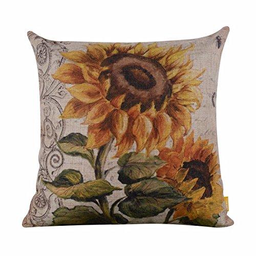 Vintage Square Sunflower Pillow Case
