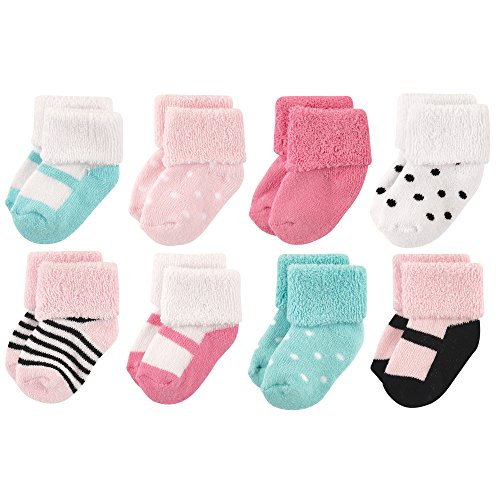 Luvable Friends Unisex Baby Socks, Mint Pink Stripe 8-Pack, 0-6 Months