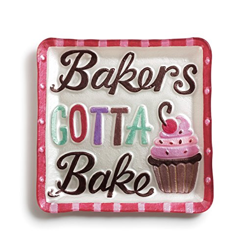 Plate Glass Fusion - Bakers Gotta Bake Cupcake Red Border 11 x 11 Vibrant Glass Accent Plate