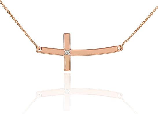 Horizontal Cross 14K Rose Gold Diamond Sideway Horizontal Curved Cross Necklace Sideway Cross Delicate Cross Dainty Cross