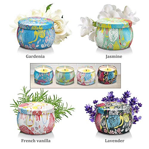 Large Size Scented Candles Gifts Sets for Women-Gardenia, Lavender, Jasmine and Vanilla, Natural Soy Wax Travel Tin Fragrance Gift for Valentine's Day Birthday Mother's Day Bath Yoga Aromatherapy