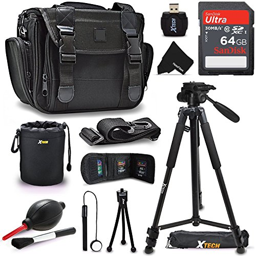 "Premium Well Padded Camera CASE / BAG and Full Size 72"" inch TRIPOD Accessories KIT f/ Canon EOS Rebel T7i T6i T6S T5i T5 EOS 80D 70D 60D 7D 6D 5D, 7D Mark II 760D 750D (64GB Accessories Kit) by HeroFiber"