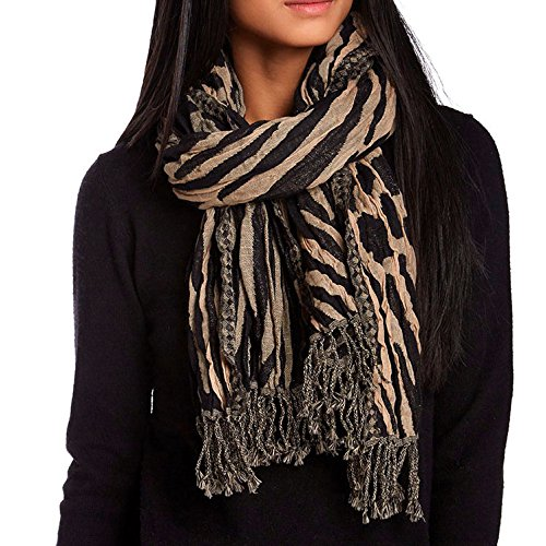 Harrison Cardigan Silk - KC Signatures Luxurious Fine Wool Textural Women's Scarf Shawl - 20 x 72 - Brown