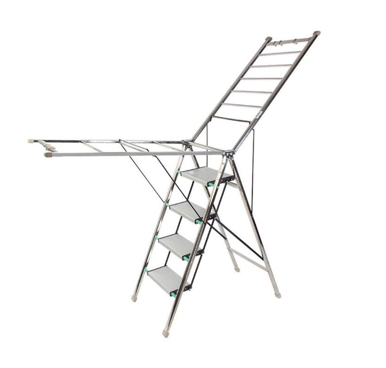 乾燥ラック、肥厚多機能家庭用はしご乾燥ラック兼用ステンレス鋼バルコニー床折りたたみ翼屋内と屋外 B07RPY1LSG