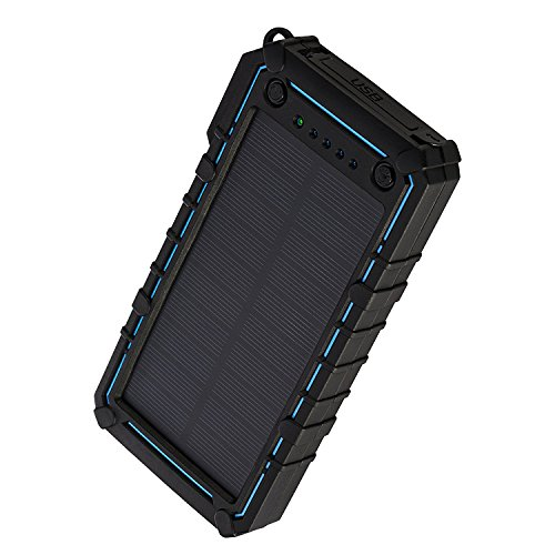 JETSUN Solar Charger 16750mAh Portable Solar Power Bank with Waterproof Solar Panel and Flashlight for iPhone, iPad, Android and more-Blue
