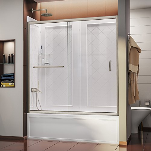 28-32 in. D x 56-60 in. W Kit, with Sliding Tub Door in Brushed Nickel and White Acrylic Backwalls ()