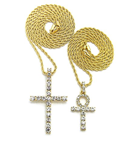 Stone Filled Ankh, Cross Pendant Various Chain 2 Necklace Set in Gold Tone (Stone Gold Two)