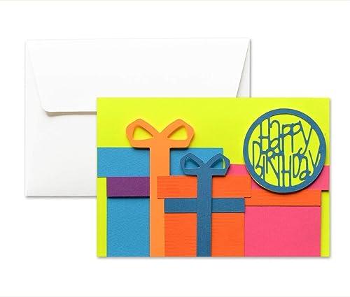 Feliz cumpleaños - paquetes - regalos - fluo - tarjeta de ...