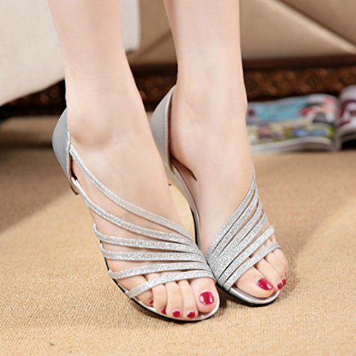 Shoes Sandals Toe Cutouts Toe Open Silver Sandals Gladiator Transer® Women Wedges Ladies Low Fashion Open Strap qC6aAwg