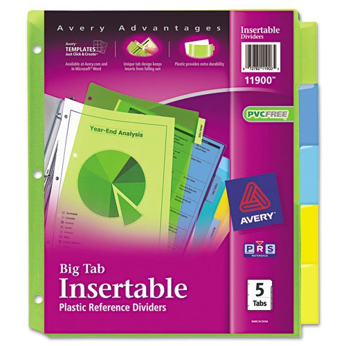 Wholesale Avery : Worksaver Big Tab Plastic Dividers, Five-Tab, Letter, Multicolor -:- Sold as 2 Packs of - 5 - / - Total of 10 Each