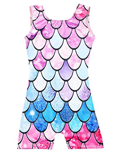 Kids Tank Gymnastics Leotards With Short 4t 5t Sparkly Mermaid Athletic Girls' Dance Apparel Unitards Quick-Dry -