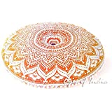 "Eyes of India 32"" Yellow Round Colorful Floor Pillow Meditation Cushion Seating Throw Cover boho dog bed Mandala Hippie Bohemian Beach Indian"