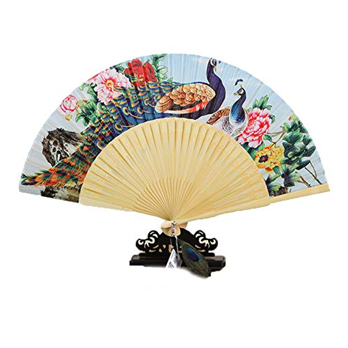 GWXLD Folding Fan - DIY Wall Decoration Peacock Fans Lexible Cloth and Bamboo Chinese Style Female Gift Box Set A