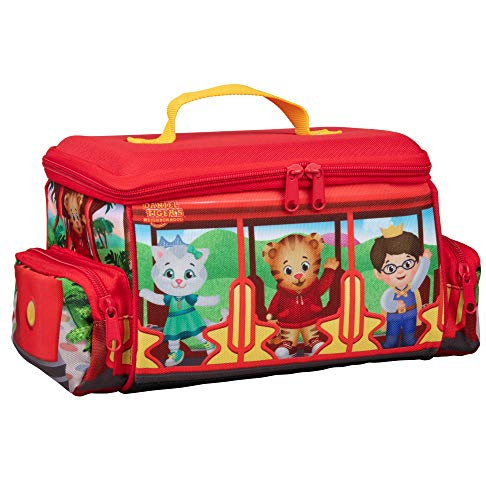 Daniel Tiger's Neighborhood- Insulated Durable Lunch Bag Tote, Reusable Heavy Duty Lunch Box w Handle and Mesh Pocket - Trolley with Friends