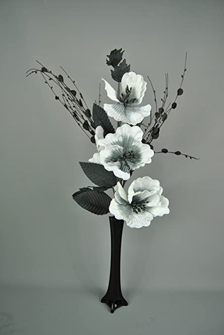 Beautiful Complete Flower Arrangement With Fluted Glass Vase White
