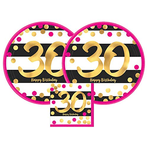 Amscan Pink & Gold 30th Birthday Party Paper Plates and Paper Napkins, 16 Servings, Bundle- 3 Items ()