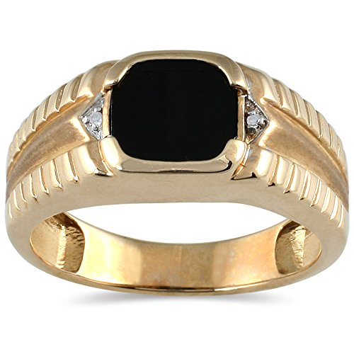 [Men's Onyx and Diamond Ring in 10K Yellow Gold] (10k Gold Onyx Diamond Ring)