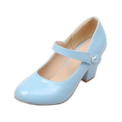 YE Damen Ankle Strap Lack Pumps Blockabsatz High Heels mit Riemchen Elegant Schuhe