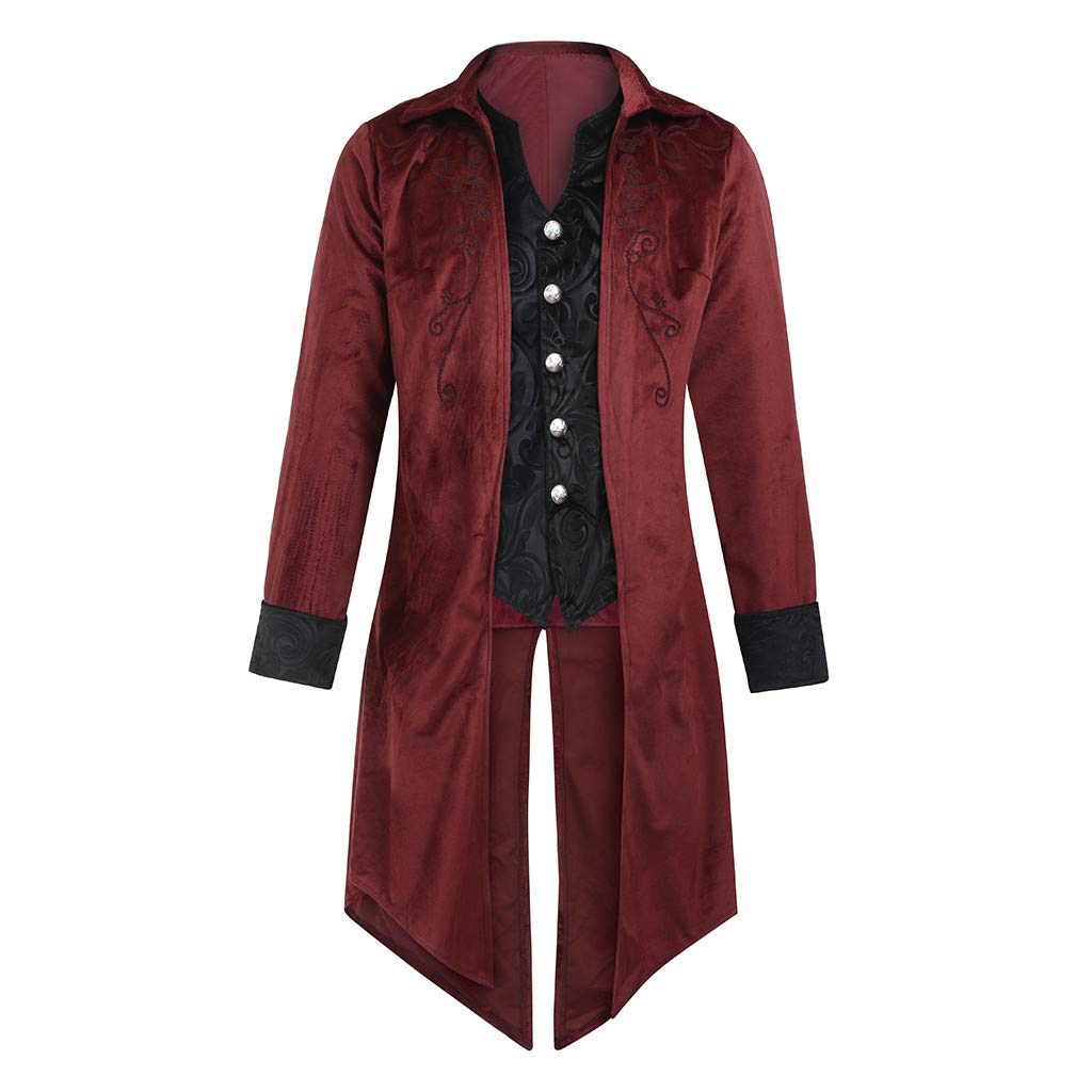 Men's Steampunk Tailcoat Jacket,Halloween Retro Gothic Uniform Victorian/Tail Outwear Coat (XL, Red) by sweetnice man clothing