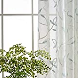 eTRY Teal Floral Sheer Curtains Embroidered Leaves Semi Faux Linen Window Curtain Drapes for Living Room Rod Pocket 52 x 96 Inch 1 Panel