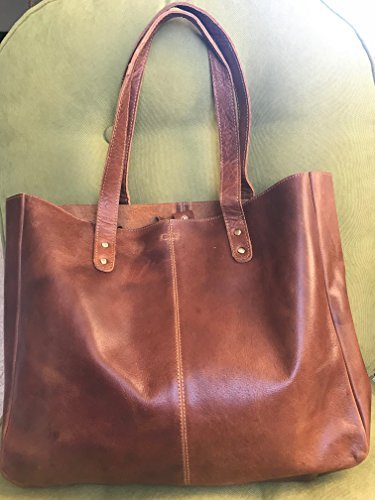 KomalC Genuine Soft Chicago Buff Leather Tote Bag Elegant Shopper Shoulder BagSALE ()