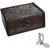 SiCoHome Treasure Box 5.46 inch Treasure Chest Jewelry Box Wood Small Chest Gift Box