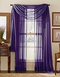 3 Piece Dark Purple Sheer Voile Curtain Panel Set: 2 Purple Panels and 1 Scarf