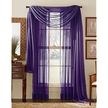 Amazon.com: 3 Piece Dark Purple Sheer Voile Curtain Panel Set: 2 ...