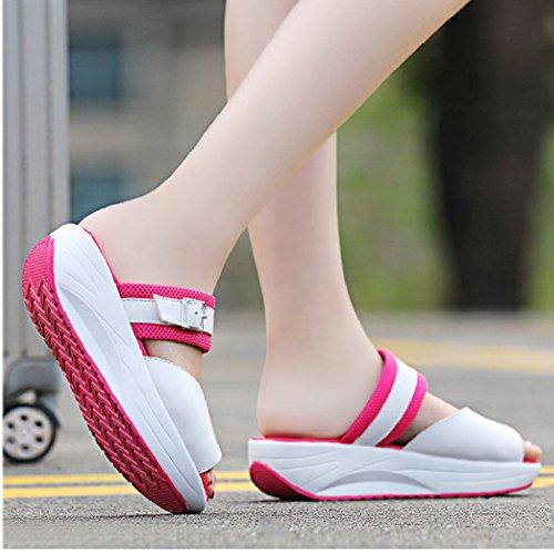 Btrada Moda Bocca Di Pesce Sandali Zeppe Piattaforma Fondo Scuotere Scarpe Sandalo Atletico Rosa Rossa
